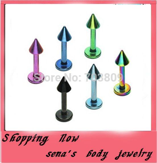 Губы шпильки пирсинг 400 шт./лот смешать 8 цветов нержавеющая сталь поддельные лабретка кольцо лабретка бар для губ украшения для тела