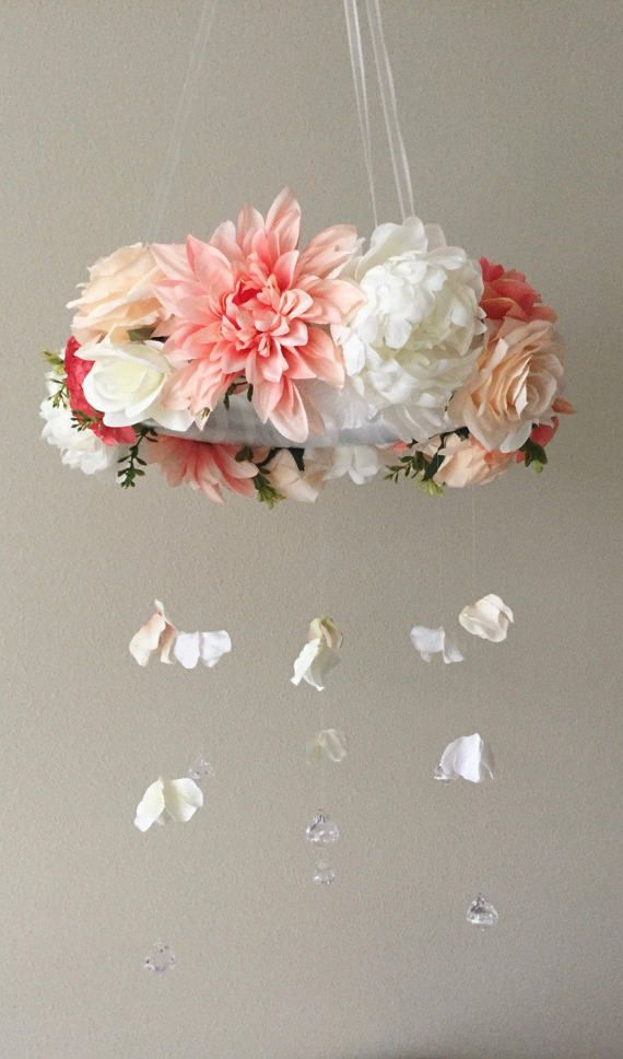 Floral mobiles from BegoniaRoseCo on Etsy, handmade, floral decor, home decor, baby girl christmas gift, baby girl mobile, pink mobile, light pink nursery, baby christmas, nursery mobile, crib mobile, baby shower gift, mom to be gift, baptism gift, christ