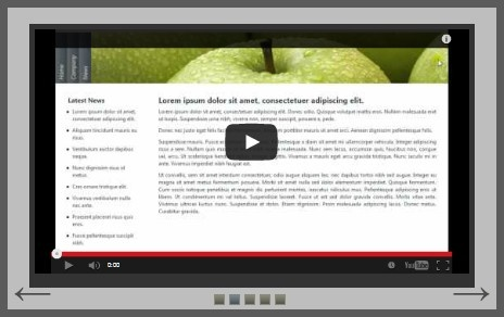 This is the Example 02b (videos) that can be found in Likno Web Scroller Builder. It is a horizontal jQuery slider that it contains youtube videos as scroller items.