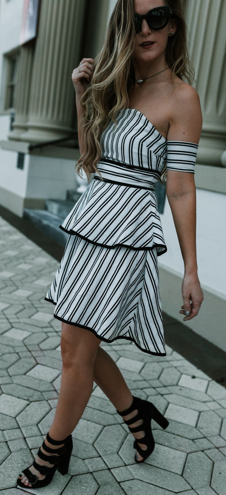 Cute wedding outfit styled with striped off the shoulder dress and buckle block heels