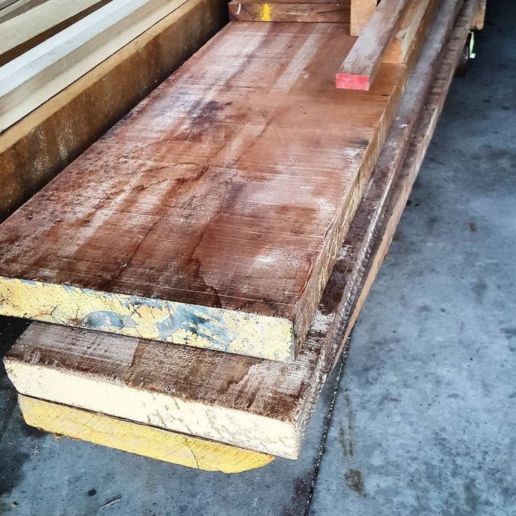 """The prize from my most recent auction purchase. Pretty sure these are Mahogany. 4""""Thick 13""""Wide 14' Long. #wow Now what massive piece should i make? #crowdsource #customfurniture #table #mahogany #lumber"""