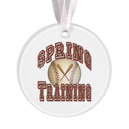 Baseball Spring Training Crossed Bats and Ball Ornament