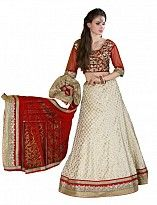 Multicolor Brocade Embroidered Unstiched Lehenga Choli And Dupatta set