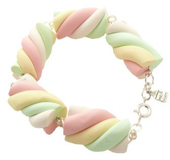 marshmallow twist bracelet made with polymer clay