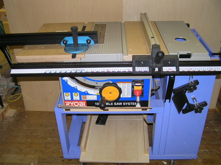 RYOBI TABLE SAW BT-3100 on custom stand w/ shopmade SMT replacement