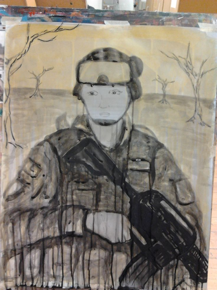 Final soldier #2  Ink and acrylic