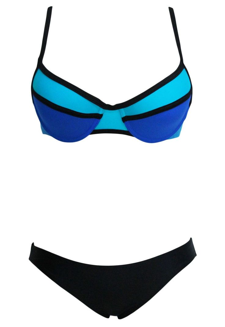 Neon Color Block Two Piece Swimsuit https://www.modeshe.com #modeshe @modeshe #AsShown