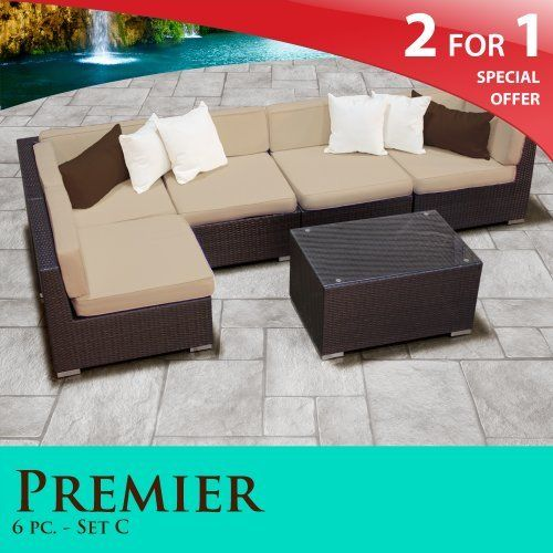 "Premier Outdoor Wicker 6 Piece Patio Set Sand Covers -06C by TK Classics. $1406.00. Versatile design for ANY patio size. 4"" Welted cushions for a luxurious look and feel. Affordable and comfortable Modular Furniture allows for endless arrangement possibilities. ""No Sag"" solid wicker bottoms with extra flexible strapping providing long-lasting suspension. Fully Assembled - ready to relax and enjoy. 2 for 1 Special: Purchase 1 of our Classic Patio Sets and receive a 2nd set of ..."