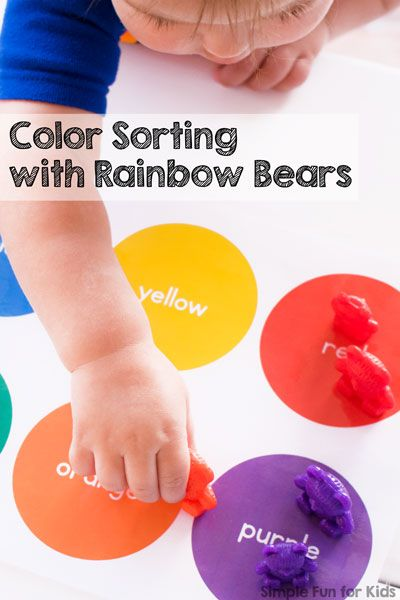 my toddlers first totschool activity was color sorting with rainbow bears and hes in love - Color Activities For Kids