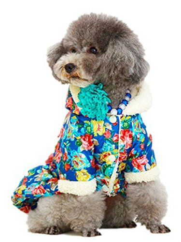 Dofull autumn winter floral pattern bowknot pet dress dog clothes blue no.CH92 -- Review more details here : Dog Dresses