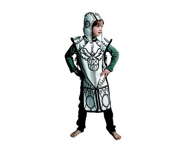 Kostuum ridder *** Dit ridderkostuum om zelf in te kleuren is gemaakt van 100% katoen en bedoeld voor kinderen van drie tot acht jaar. Er zit ook een helm bij, idem gefabriceerd in stof. Deze kit wordt geleverd in mooie kartonnen verpakking inclusief 4 textielstiften. Just colour it, wear it and play!!