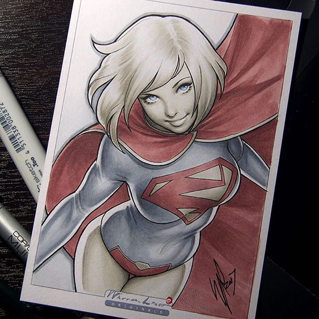 Here's New 52's Supergirl and the final artwork for tomorrow's Instagram auction @warrenlouwgallery #supergirl #new52 #dccomics #copic #art