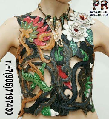 №173 Эксклюзивная женская кожаная жилетка, переплетение растений, цветов - Куртки женские кожаные,авторская одежда, куртка из питона, куртки из крокодила. Дубленки,шубы из чернобурки,лисы,норки. Варежки-наушники меховые. Atelier are handmade leather jackets, corsets, vest for ladies, also luxury jackets of crocodile or python skin.