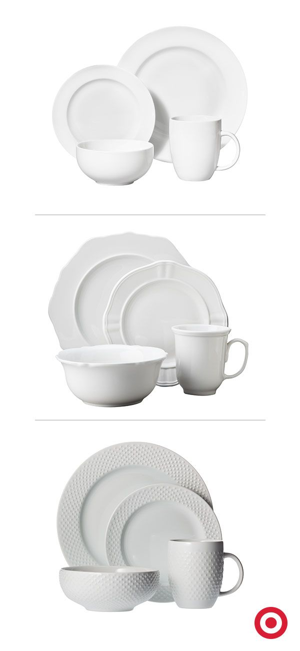 Back to the basics! Everyday Threshold white dishes are the perfect base for any occasion. By keeping your dinnerware clean and classic, you'll have more room for bold table decor.