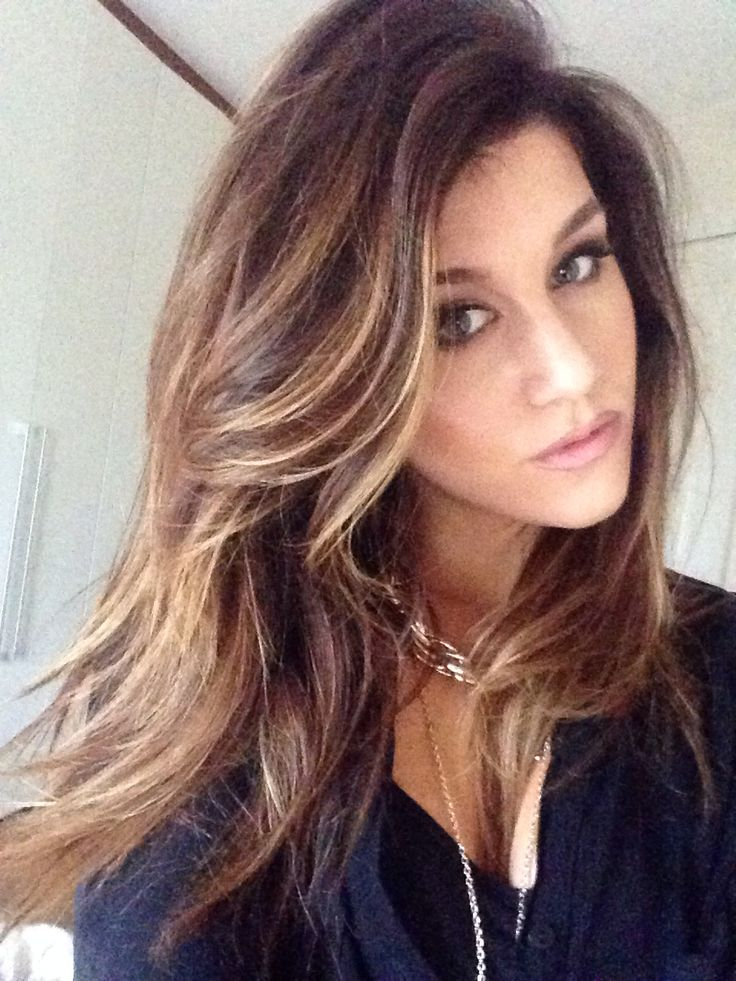 Brown hair with blonde highlights | Brunette hair | Pinterest