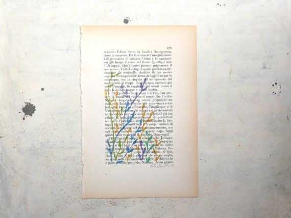 leaves in green blue and yelllow painting original watercolor  and tempera on page of antique book - nature -