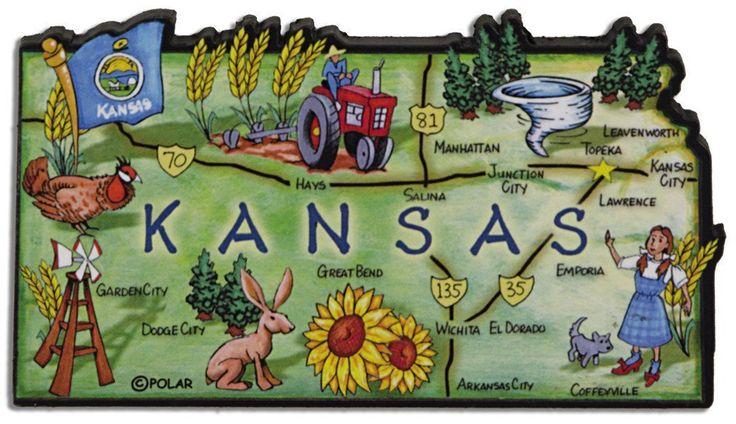 MGKS70 Magnet Large Artwood Kansas Map