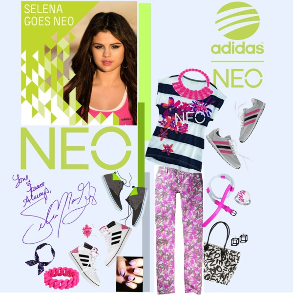 """""""Selena Goes NEO with Addidas"""" by bklou ❤ liked on Polyvore"""