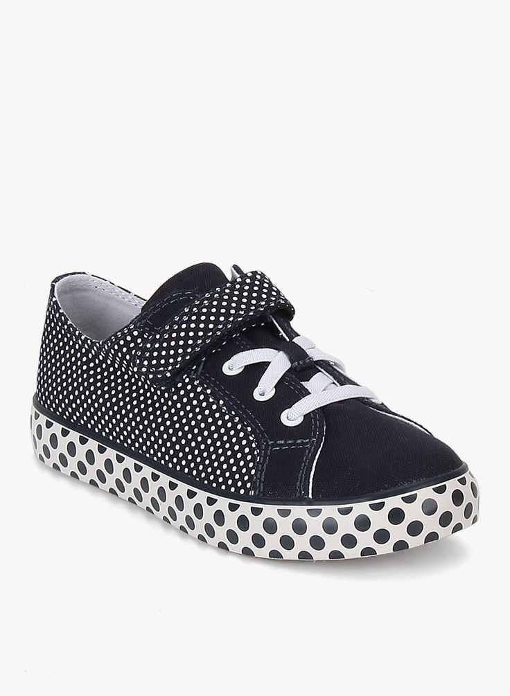 Clarks Brill Vibe Navy Blue Canvas Polka Printed Sneakers