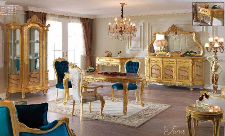 Burgaz Lüks Klasik Yemek Odası Takımı.  #YemekOdası #DiningRoom #Decoration #Ev #Dekorasyon #Moda #Mobilya #Furniture