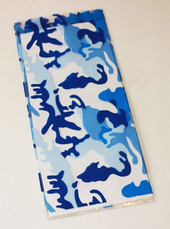 """12 Blue Camouflage Print Cellophane party favor bags Treat Bag, Navy Cello Bag, Tall Gift Bag  5"""" x 12.5"""" Boy Birthday party Supplies"""