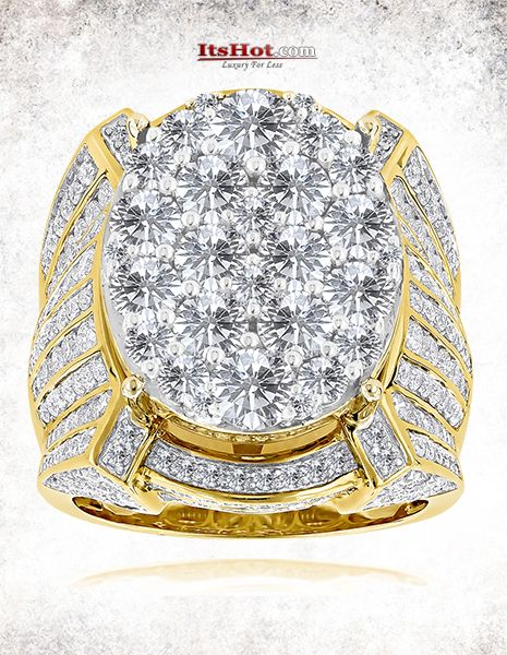 This Celebrity Mens Diamond Ring by Luxurman available in 14K gold, showcases 10 carats of round diamonds and weights 28 grams. Featuring an oversized design and a highly polished gold finish