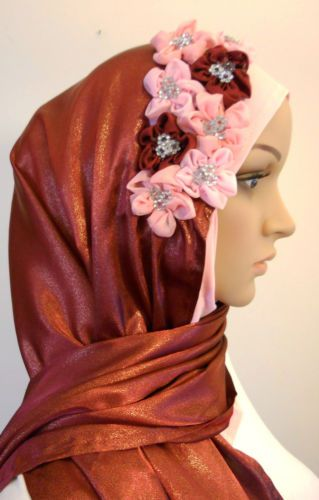 Hijab Satin Stole Scarf with beautiful Flowers - Slip On One Piece