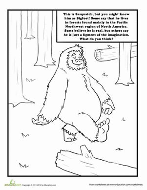 Sasquatch Coloring Page Bigfoot Child and Bigfoot birthday