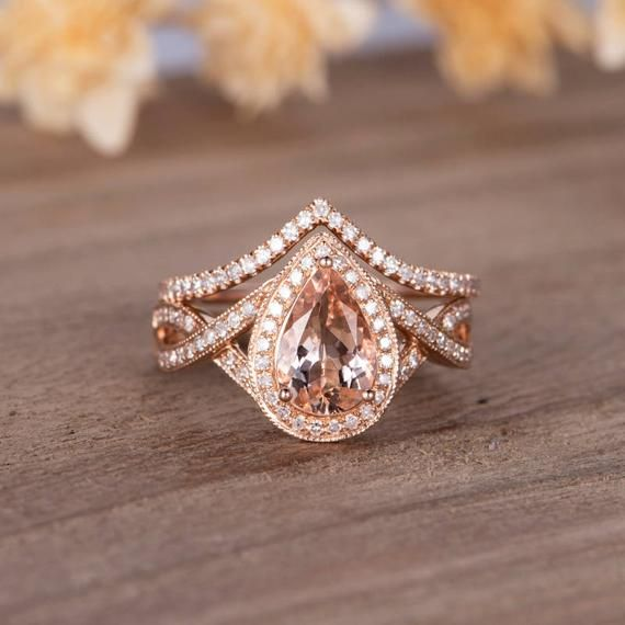 Pear Shaped Engagement Ring Rose Gold Morganite Ring Set Bridal Set Halo Diamond Infinity Band Women Unique Antique Wedding Ring Anniversary