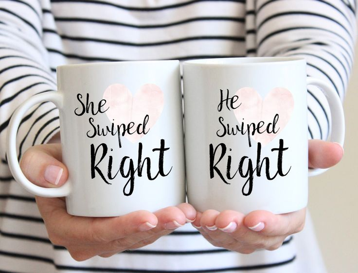 Tinder Coffee Mugs | Swiped Right Mugs | Engagement Gift Mugs | His and Her Mugs | Online Dating Mugs | Wedding Planning Gift | Funny Mugs by BumbleAndBustle on Etsy https://www.etsy.com/listing/511797725/tinder-coffee-mugs-swiped-right-mugs