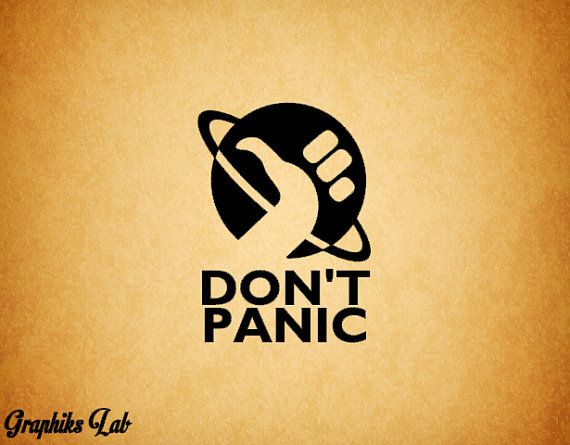 Don't Panic Hitchhiker's Guide to the Galaxy Inspired Decal Don't Panic Vinyl Decal Sticker. From Graphiks Lab.