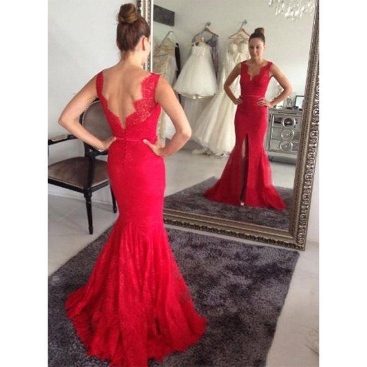 Free Shipping Mermaid Lace Evening Dress,Sexy Slit Prom Dress, Deep V-neckline Graduation Dress, V-back Prom Gowns
