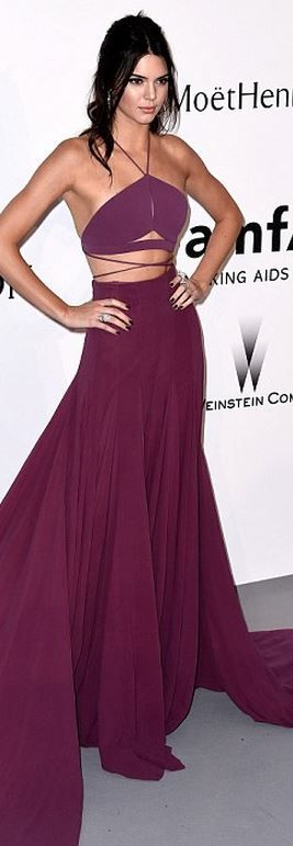 Who made  Kendall Jenner's purple maxi skirt and lace crop top?