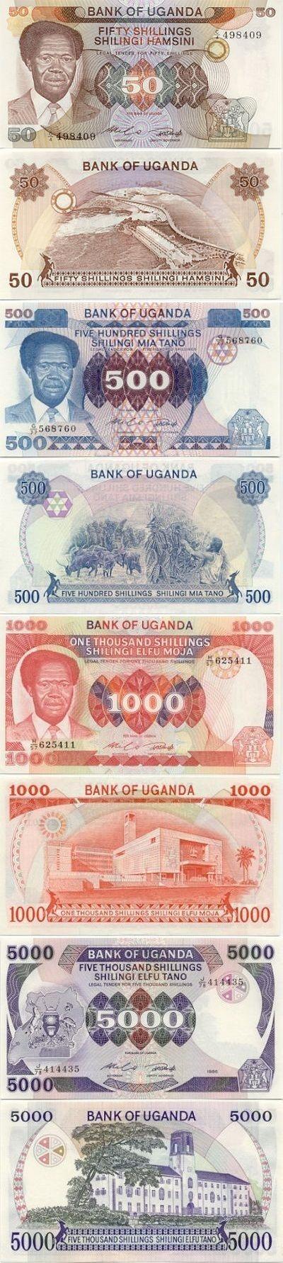 Uganda:  50 Shillings (1985) (President Milton Obote, dam); 500 Shillings (1983) (President Milton Obote, cattle); 1000 Shillings (1983) (President Milton Obote, building); 5000 Shillings (1986) (Clock tower building).