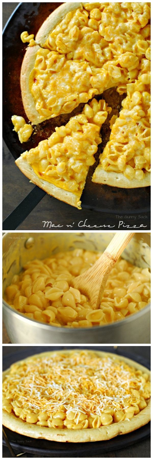 Take macaroni and cheese to the next level with Mac n' Cheese Pizza... Add garlic to the base :)