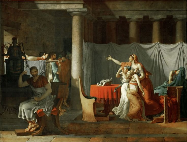 Jacques-Louis David - Lictors Bring to Brutus the Bodies of His Sons [1789]  #18th #Classic #Jacques-Louis #David #Painting