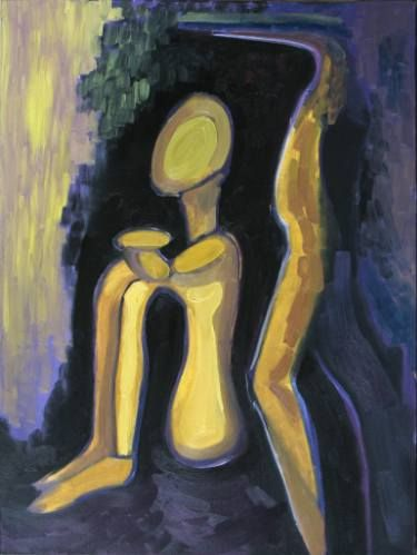 """Saatchi Art Artist Elisabeta Vlad; Painting, """"Yellow tribal sculptures"""" #art"""