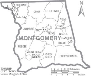 Montgomery County NC   (with old township names)
