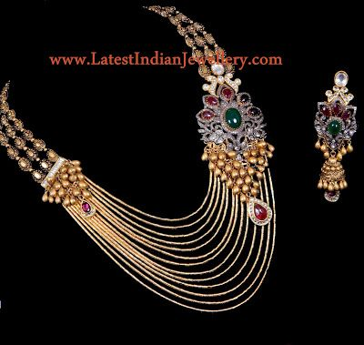 Designer Multi String Gold Jadau Necklace | Latest Indian Jewellery Designs