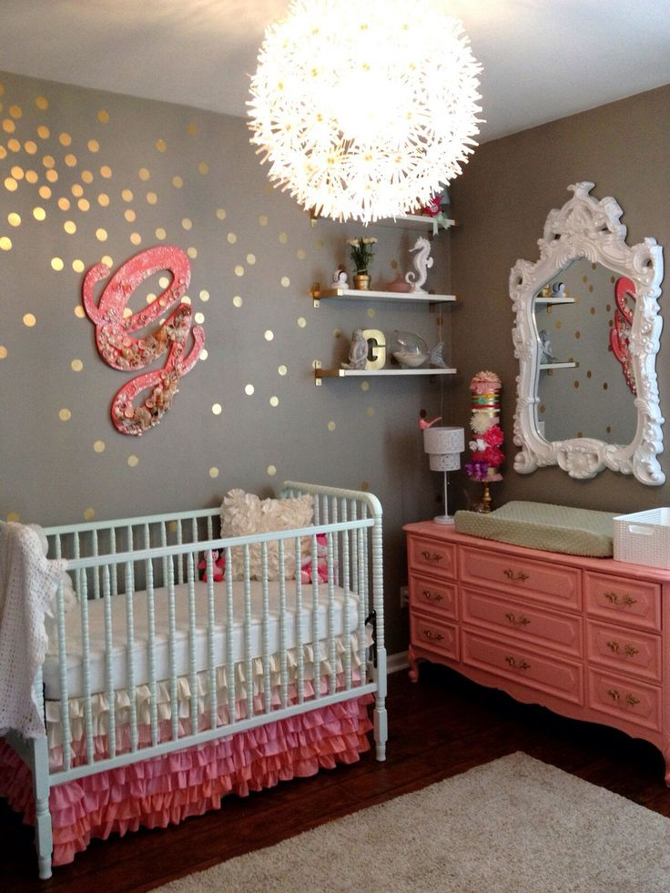 Baby Girl's Nursery, grey and pink... Love so many things about this room - the ombre ruffle bed skirt, the old dresser turned into a changing table, the gold dots, the hairband holder... sooo cute!