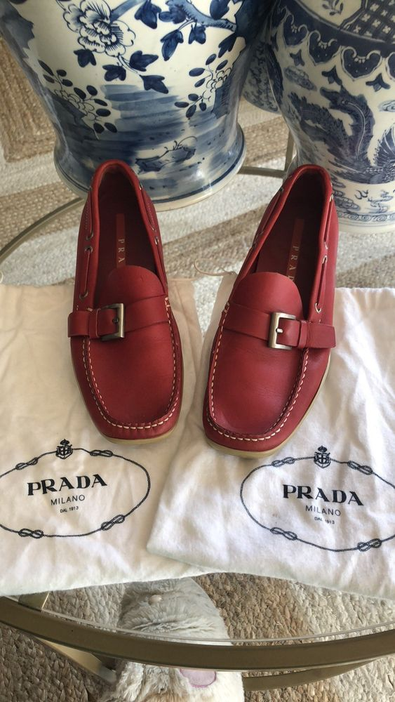 8b28c3afc01 PRADA women red Leather Loafer Drivers Shoes US Size 7.5  fashion  clothing   shoes