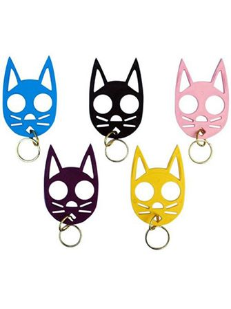 Self Defense Keychain -- Slide two fingers through the eye sockets of this cat and you've got instant Wolverine-like abilities, sure to ward off any would-be attackers. Cute enough to make it through airport security, deadly enough to save your life.