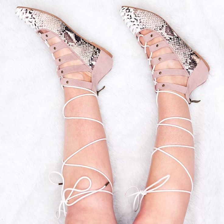 SIOUX Lace Up Flat Sandals Shoes - Nude Snake