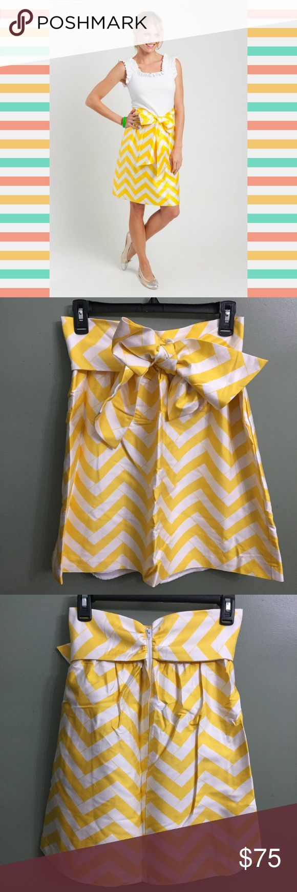 NWT Elizabeth McKay Le Charlot Chevron Skirt, 2 Le Charlot Skirt in Yellow Chevron by Elizabeth McKay - features a flattering, bow-tie waist; has pockets and rear zip closure. 50% wool, 50% silk, Lining: 100% polyester Elizabeth McKay Skirts