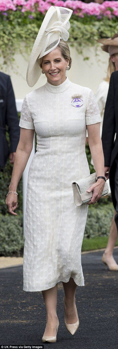 Sophie Wessex and Princess Michael of Kent both also chose a demure calf-length style on Day One of Royal Ascot