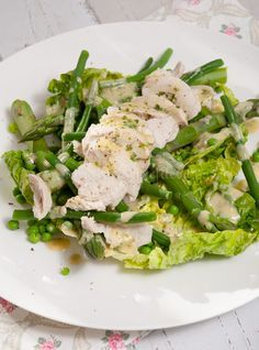 Groene salade met gepocheerde kip - Keuken♥Liefde