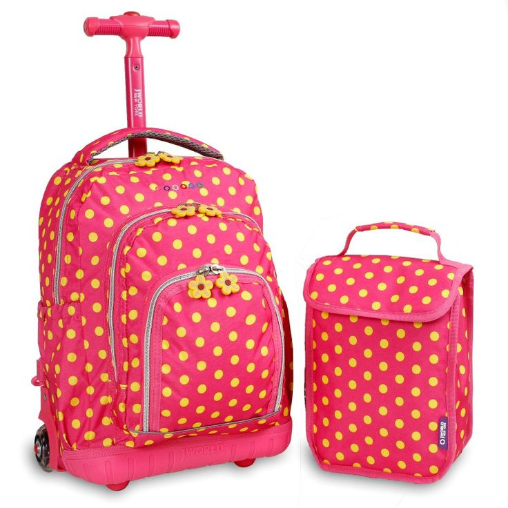 Rolling Backpack With Lunch Bag Pink Buttons