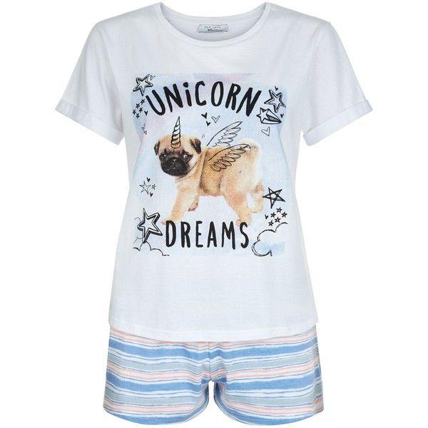 New Look Teens Blue Pug Unicorn Dreams Print Pyjama Set ($14) ❤ liked on Polyvore featuring intimates, sleepwear, pajamas, blue pattern, blue pajamas and unicorn pajamas
