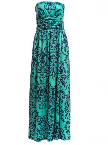 Fashionable Strapless Printed Backless Women's Dress