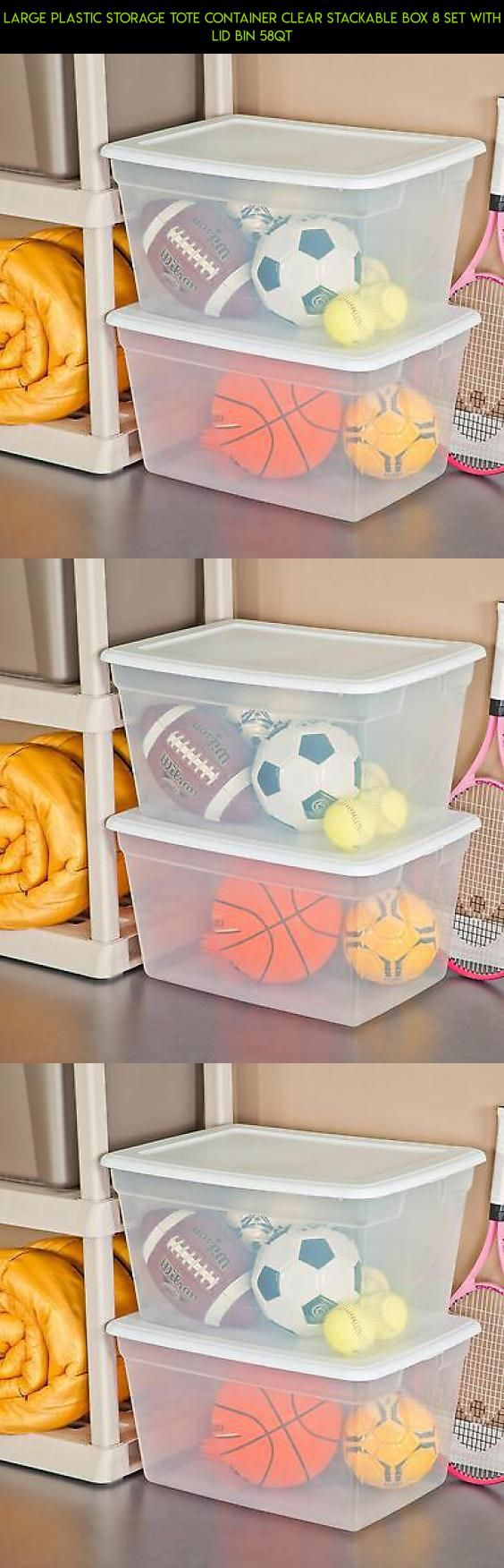 Large Plastic Storage Tote Container Clear Stackable Box 8 Set with Lid Bin 58QT #gadgets #fpv #bin #plans #camera #shopping #technology #racing #parts #tech #storage #8 #kit #drone #products
